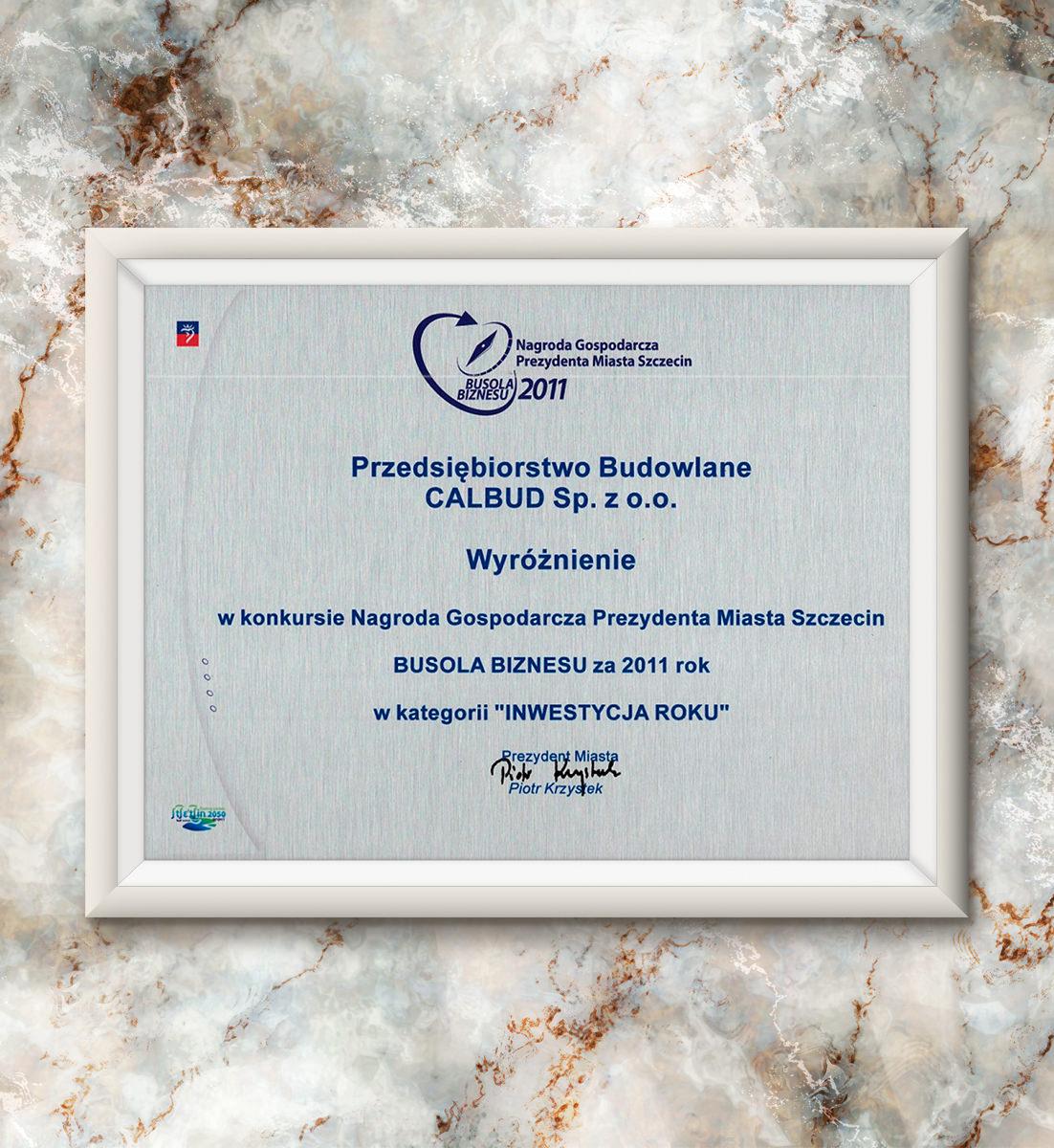 Busola Biznesu za 2011 rok - wyróżnienie w kategorii
