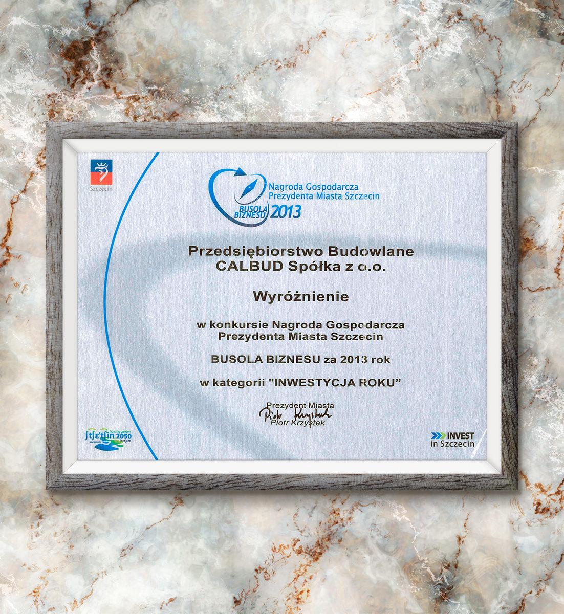 Busola Biznesu za 2013 rok - wyróżnienie w kategorii