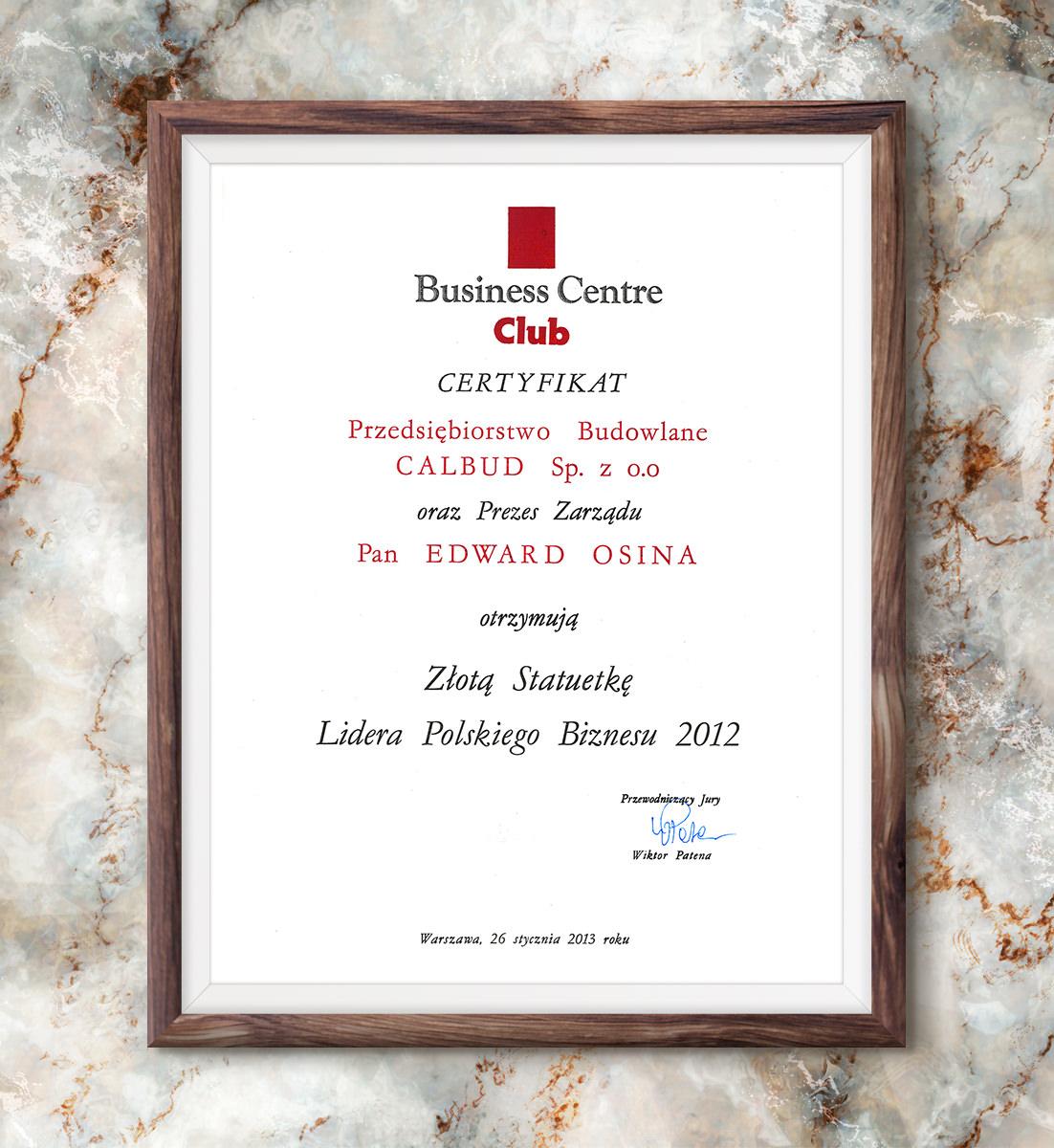 Złota Statuetka Lidera Polskiego Biznesu 2012